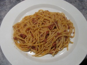 Plate of spaghetti bolognese
